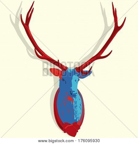 Vector mounted head of deer in pop art stylization. Red and blue stuffed stag with monumental antlers. Hunting antique trophy. Taxidermy of deer´s head hung on white wall. Flatten master illustration.