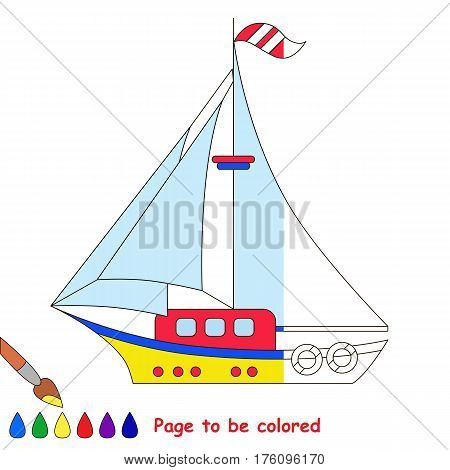 Yacht to be colored, the coloring book to educate preschool kids with easy kid educational gaming and primary education of simple game level. The colorless half of picture to be colored by sample half.