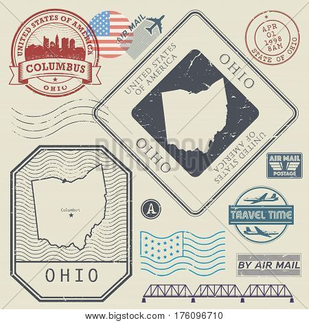 Retro vintage postage stamps set Ohio United States theme vector illustration