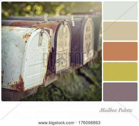 US mailboxes with retro style processing, in a muted colour palette with complimentary colour swatches.