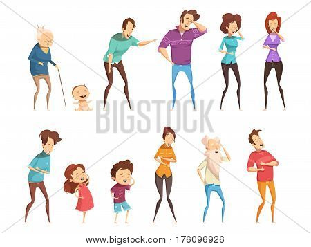 Laugh people icon set people of all ages and gender are laughing at something vector illustration