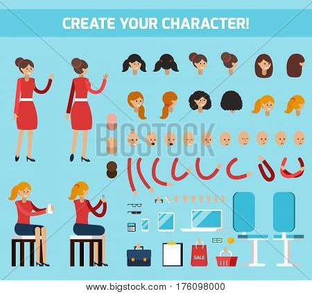 Colored female character constructor flat composition with create your character headline vector illustration