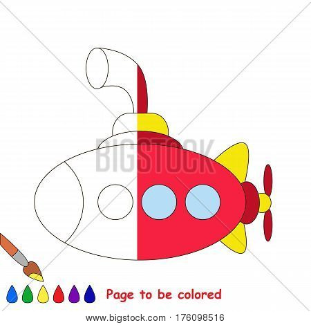 Submarine to be colored, the coloring book to educate preschool kids with easy kid educational gaming and primary education of simple game level. The colorless half of picture to be colored by sample.