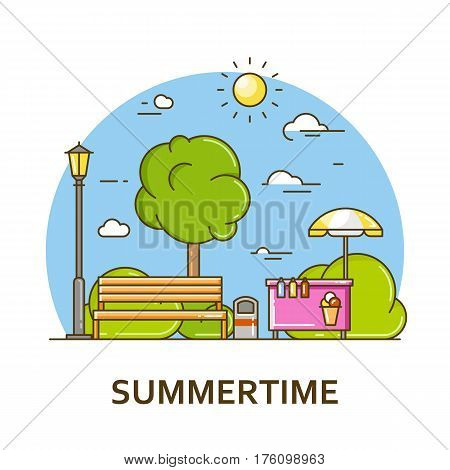 City landscape with bench and street lamp in public park. Vector illustration in flat line style. Season architecture design for banner or card. Summer nature background. Outdoor activity concept