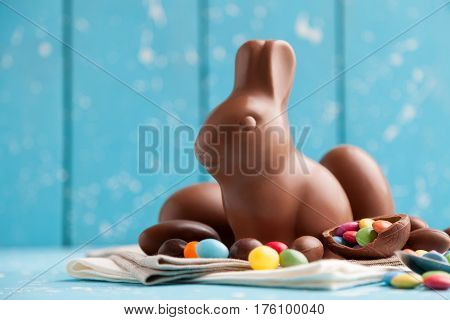 Delicious Chocolate Easter Bunny, Eggs And Sweets