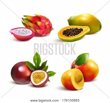Ripe tropical fruits and slices realistic set with isolated images of mango pitaya papaya and passionfruit vector illustration