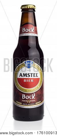 GRONINGEN, NETHERLANDS - MARCH 10, 2017: Bottle of dutch Amstel Bock beer isolated on a white background