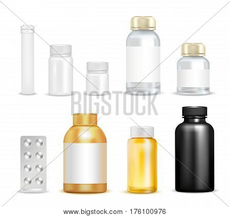 Isolated vitamins packaging images of empty vials transparent flask circumflex caps and blister pack of pills vector illustration