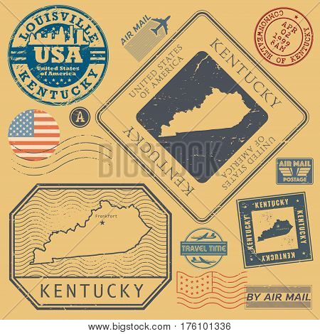 Retro vintage postage stamps set Kentucky United States theme vector illustration