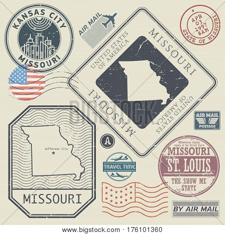 Retro vintage postage stamps set Missouri United States theme vector illustration