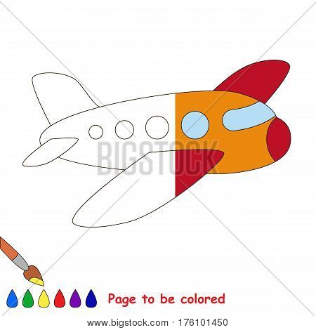 Airplane to be colored, the coloring book to educate preschool kids with easy kid educational gaming and primary education of simple game level. The colorless half of picture to be colored by sample.