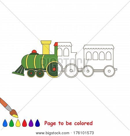 Train to be colored, the coloring book to educate preschool kids with easy kid educational gaming and primary education of simple game level. The colorless half of picture to be colored by sample.