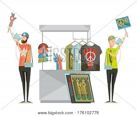 Anti war propaganda design composition with two young men advertising shirts with no war symbols cartoon flat vector illustration
