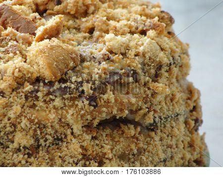 Honey cake.  The honey cake - close-up.