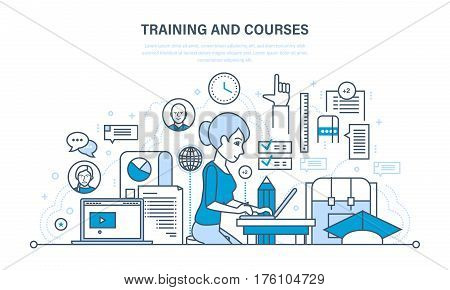 The modern system of training and courses, distance learning, technology, knowledge, teaching and skills. Illustration thin line design of vector doodles, infographics elements.
