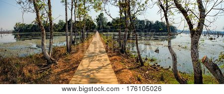 Mysterious wooden path towards Neak Pean Temple on artificial island in Angkor Complex, Siem Reap, Cambodia. Ancient Khmer architecture famous Cambodian landmark World Heritage