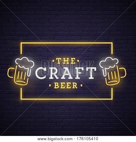 Beer neon sign, bright signboard, light banner. Beer logo, emblem