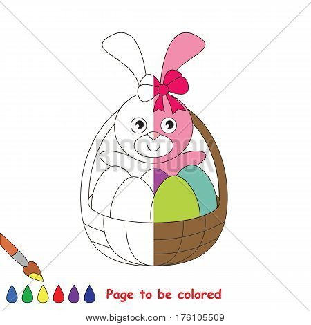 Pink Easter Bunny to be colored, the coloring book to educate preschool kids with easy kid educational gaming and primary education of simple game level, colorless half to be colored by sample half.