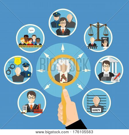 Law flat information composition with information search about judges and their subordinates vector illustration
