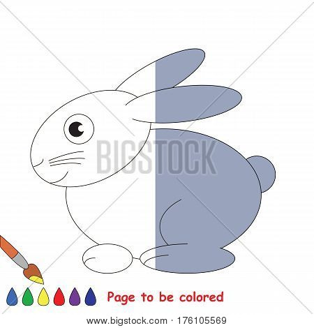 Grey Hare to be colored, the coloring book to educate preschool kids with easy kid educational gaming and primary education of simple game level, colorless half to be colored by sample half.