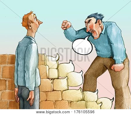 angry man speaks, the speech bubble he produces become bricks in front of an astonished man