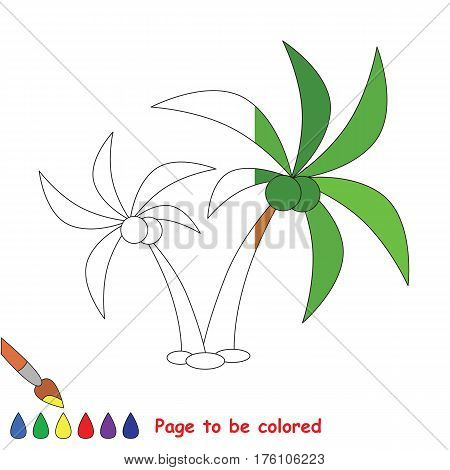 Palm Tree to be colored, the coloring book to educate preschool kids with easy kid educational gaming and primary education of simple game level, colorless half to be colored by sample half.