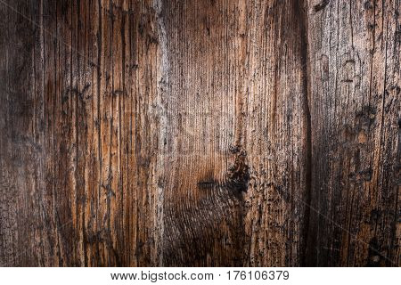 Wooden natural background. Wall of old wooden planks. Well seen rich texture of the ravaged wood.