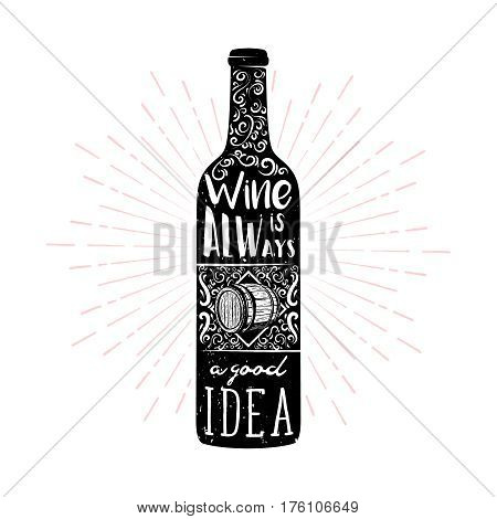 Wine typography illustration in vintage style for card or poster. wine themed retro symbol for pub or bar menu.