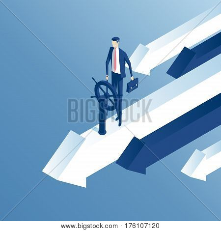 Businessman at the helm of rides on the arrow. An employee flies on top arrow isometric illustration. Business concept of control and right direction