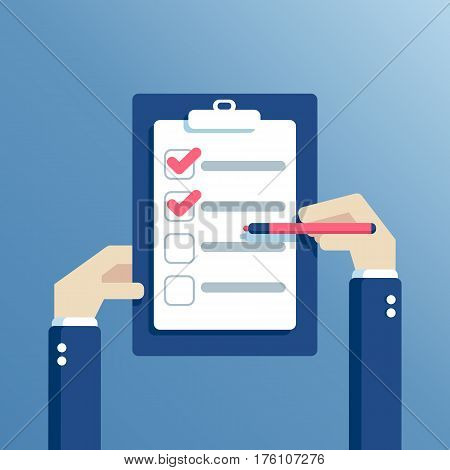 Businessman hands holding checklist and marker. Clipboard with questionnaire survey or with task list. Icon flat style vector illustration. Filling out forms planning