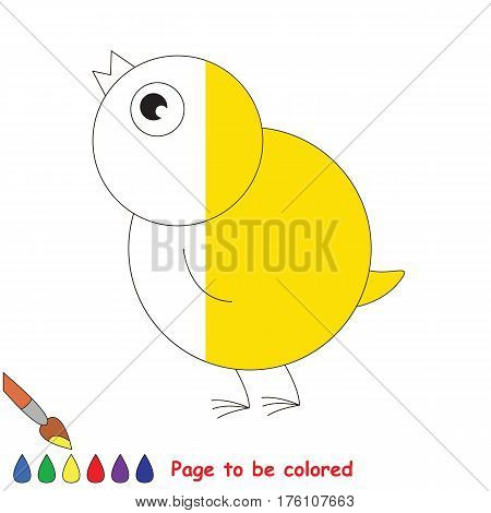 Little Yellow Chicken to be colored, the coloring book to educate preschool kids with easy kid educational gaming and primary education of simple game level, colorless half to be colored by sample.