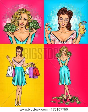set illustrations retro smiling pop art girl holding in hands bags with purchases, cash and cocktail