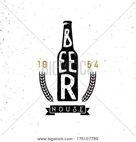 beer house emblem, lettering inside the beer bottle, wheat branches. Retro styled logotype. 60s timed beer badge.