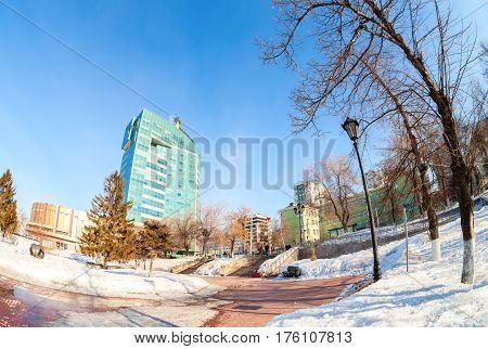 SAMARA RUSSIA - MARCH 12 2017: Fisheye view of the office building of the OJSC Samaraneftegaz - unit of Russian oil company Rosneft in Samara Russia