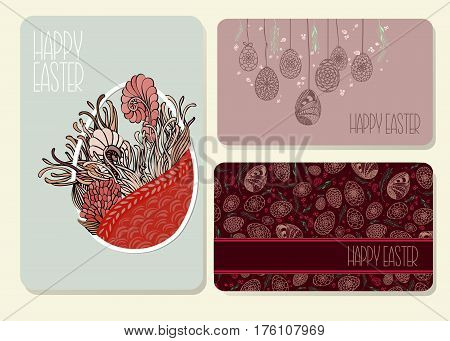 Set Of Decorative Easter Cards With Hand Drawn Ornamental Eggs And Floral Elements. Doodle Style. St