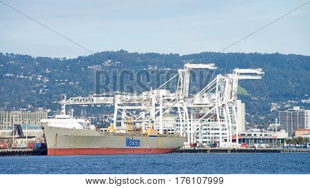 Oakland CA - March 07 2017: Matson cargo ship LIHUE docked at the Port of Oakland. The cargo volume at the Port of Oakland makes it the fifth busiest container port in the United States.