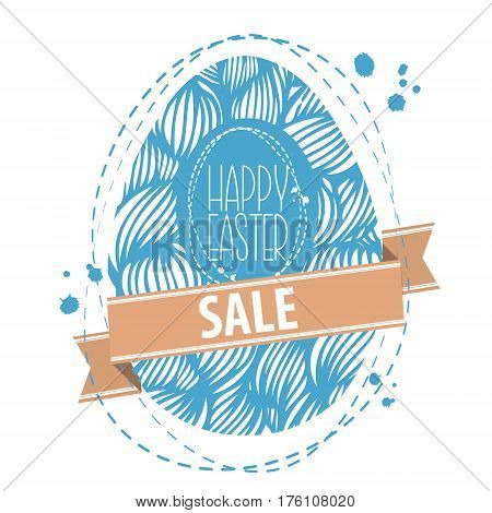 Easter Sale Background. Hand Drawn Ornamental Easter Egg With Waves Pattern And Ribbon. Cute Doodle