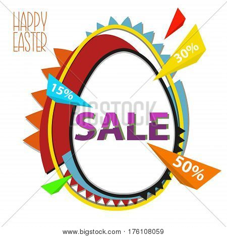 Easter Sale Background With Egg In Pop Art Style. Stock Vector