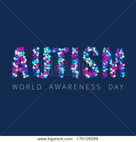 Autism awareness poster with word AUTISM made of colorful puzzle pieces on blue background. Solidarity and support symbol. Medical concept. Vector illustration.