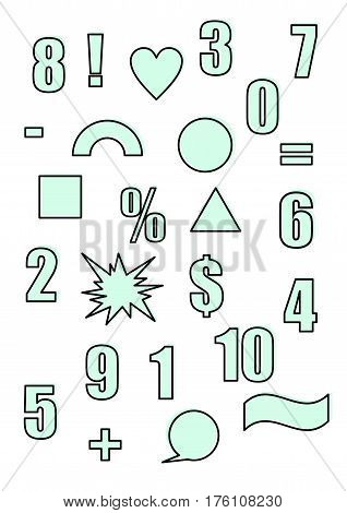 Retro shapes and figures in the style of the 90s Outline and blue color Set of vector illustration Abstract forms and design elements