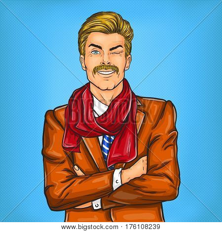 illustration of a confident pop art hipster man winking eye