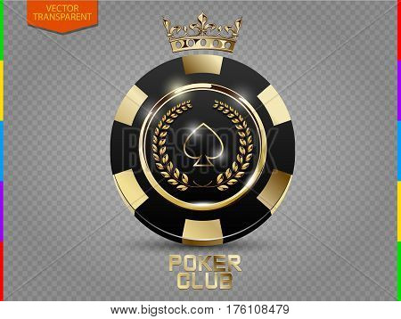 VIP poker black and golden chip vector. Royal poker club casino emblem with crown laurel wreath and spades isolated on transparent background