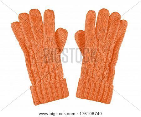 Woolen Gloves Isolated - Orange