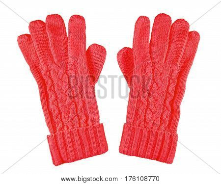 Woolen Gloves Isolated - Red