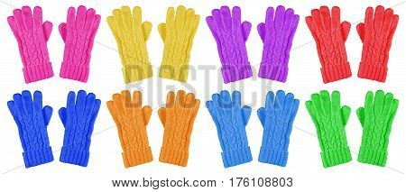 Woolen Gloves Isolated - Colorful