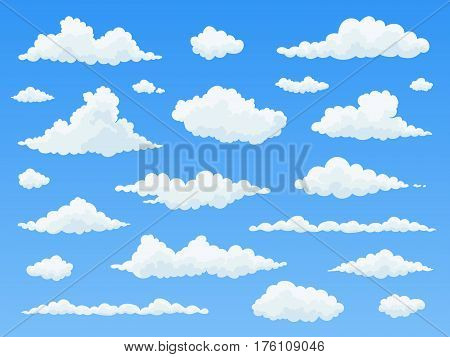 Cartoon cloud set. White clouds on blue sky. Flat vector illustration.