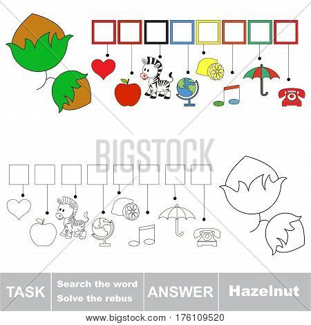 Vector rebus game for preschool kids with easy educational game level for kid education during gaming, find solution and write the hidden word in grid cells - Hazelnut