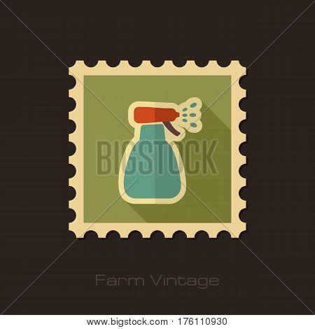 Retro flat stamp of spray bottle with liquid isolated garden atomizer pulverizer sprayer eps 10