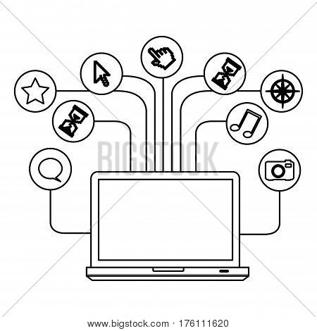 silhouette tech laptop computer database server icon stock vector illustration