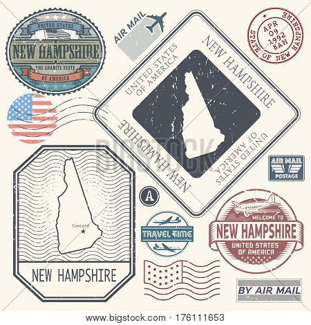 Retro vintage postage stamps set New Hampshire United States theme vector illustration